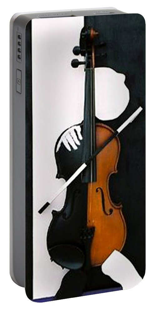 Violin Portable Battery Charger featuring the sculpture Soul Of Music by Steve Karol