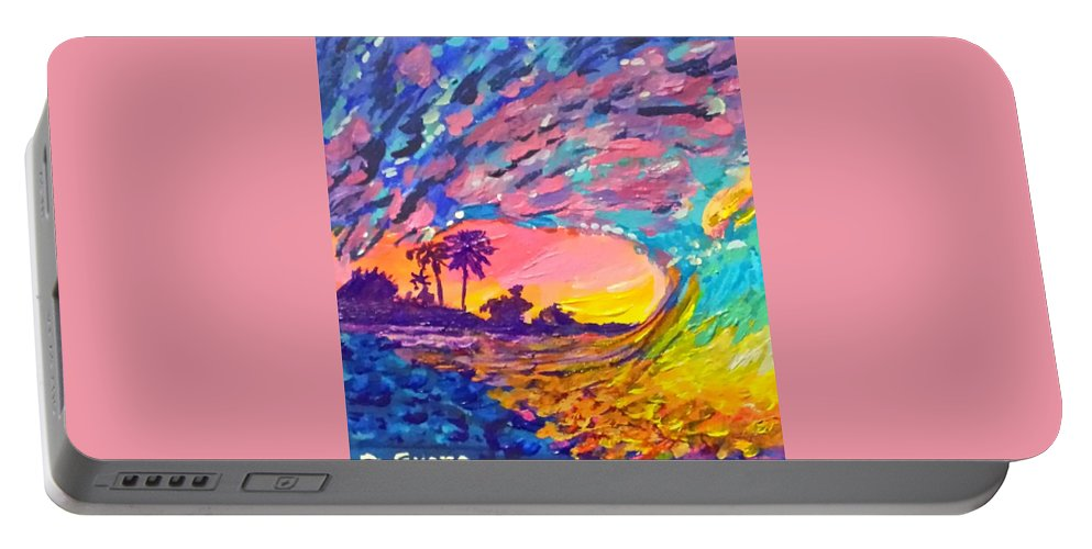 Colorful Wave Surf Ocean Summer Palm Tree Water Swim Sunset Sea Portable Battery Charger featuring the painting Soul Of The Sea by Deborah Evers