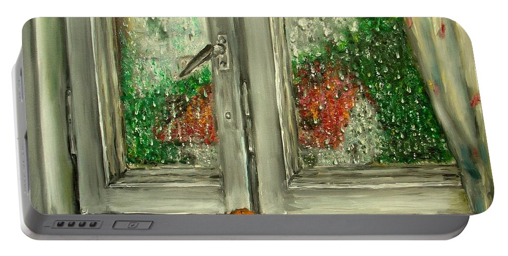 Rain Portable Battery Charger featuring the painting Sound Of Rain Oil Painting by Natalja Picugina