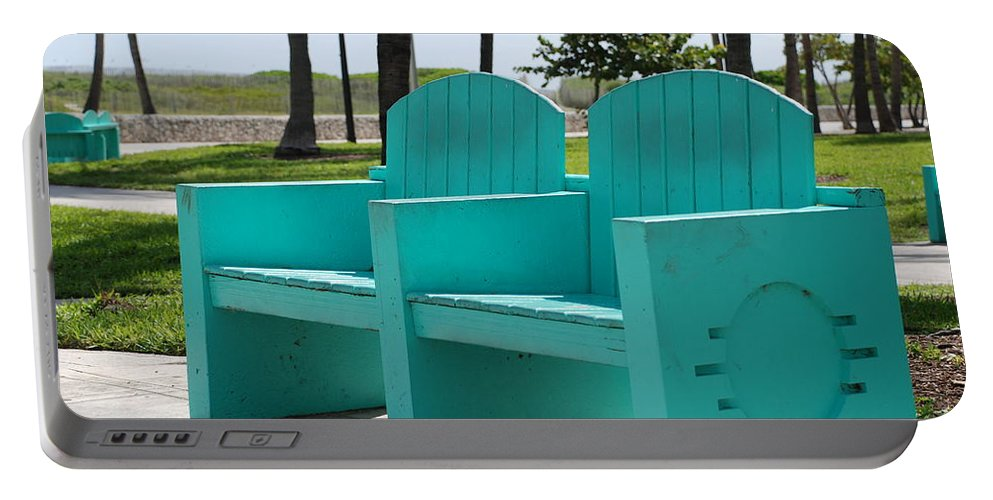 Art Deco Portable Battery Charger featuring the photograph South Beach Bench by Rob Hans