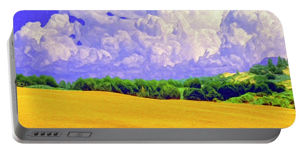 Wheat Field Portable Battery Charger featuring the painting South Forty by Dominic Piperata