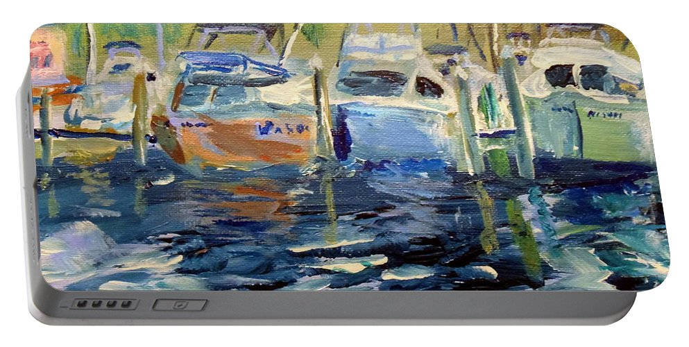 Southport Nc Portable Battery Charger featuring the painting South Harbor Dawn by Max Bowermeister