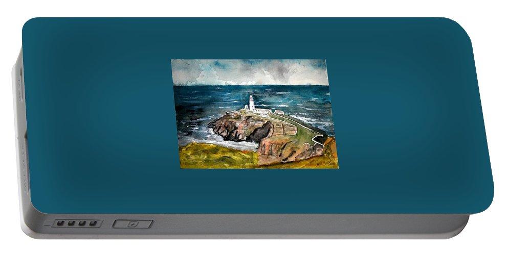 South Stack Lighthouse Portable Battery Charger featuring the painting South Stack Lighthouse by Derek Mccrea