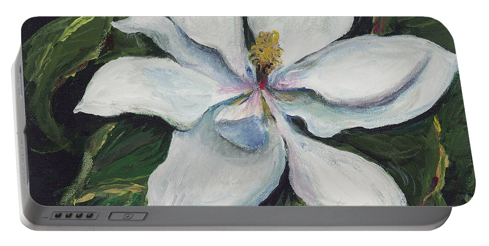 Green Portable Battery Charger featuring the painting Southern Beauty by Nadine Rippelmeyer