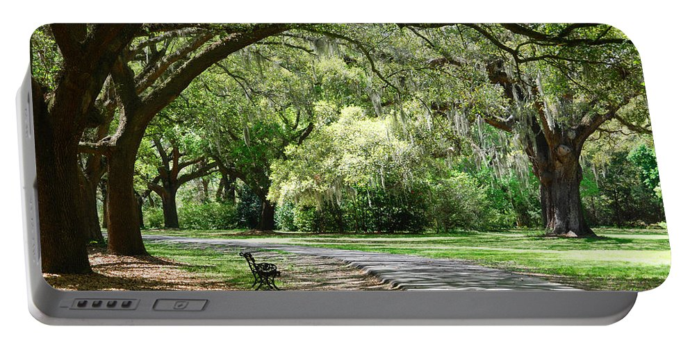 Benches Portable Battery Charger featuring the photograph Southern Bench by Susanne Van Hulst