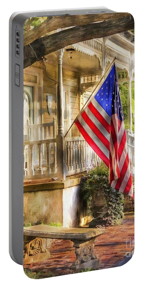 American Flag Portable Battery Charger featuring the photograph Southern Charm by Benanne Stiens