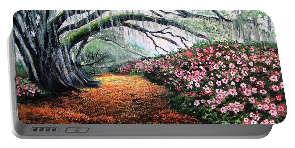 Azalea Portable Battery Charger featuring the painting Southern Charm Oak And Azalea by Patricia L Davidson