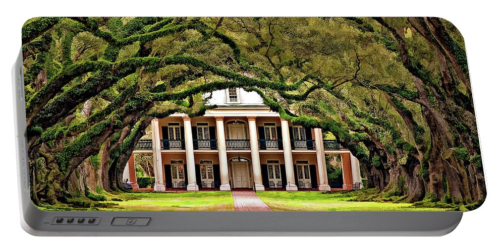 Oak Alley Plantation Portable Battery Charger featuring the photograph Southern Class Painted by Steve Harrington