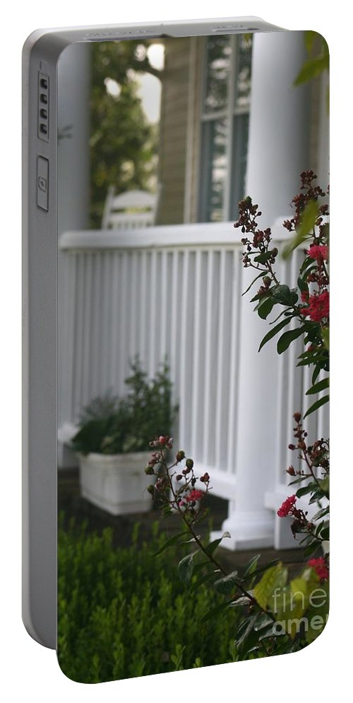 Summer Portable Battery Charger featuring the photograph Southern Summer Flowers And Porch by Nadine Rippelmeyer