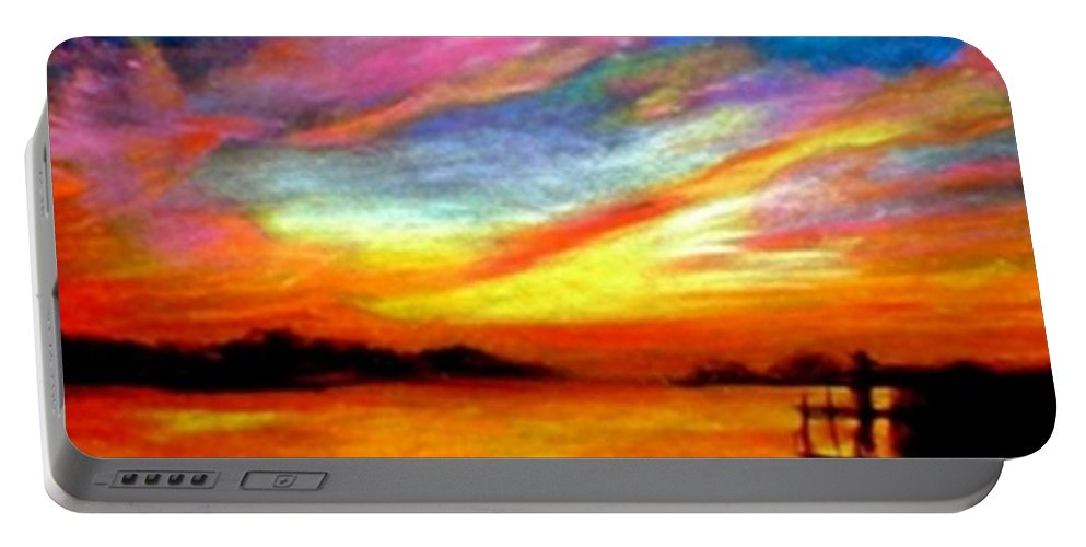 Sunset Portable Battery Charger featuring the painting Southern Sunset by Gail Kirtz