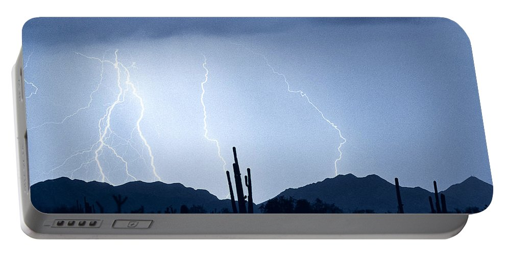 Southwest Portable Battery Charger featuring the photograph Southwest Desert Lightning Blues by James BO Insogna