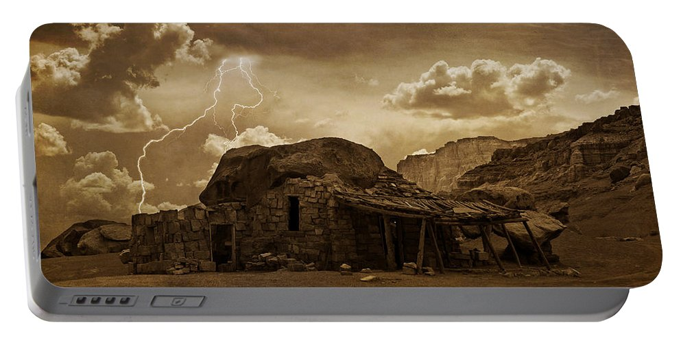 Southwest Portable Battery Charger featuring the photograph Southwest Navajo Rock House And Lightning by James BO Insogna