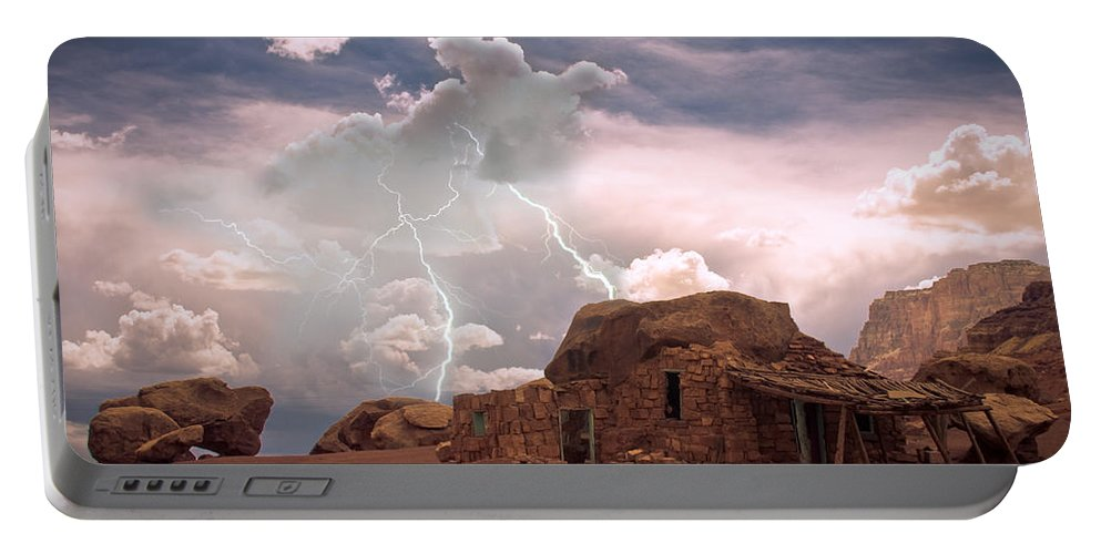 Lightning Strikes; Lightning; Nature; Landscapes; Southwest Desert; Rustic; Thunderstorms; Fine Art Portable Battery Charger featuring the photograph Southwest Navajo Rock House And Lightning Strikes by James BO Insogna