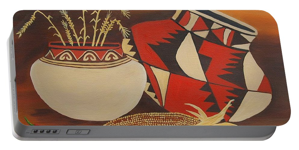 Still Life Portable Battery Charger featuring the painting Southwest Pottery by Ruth Housley