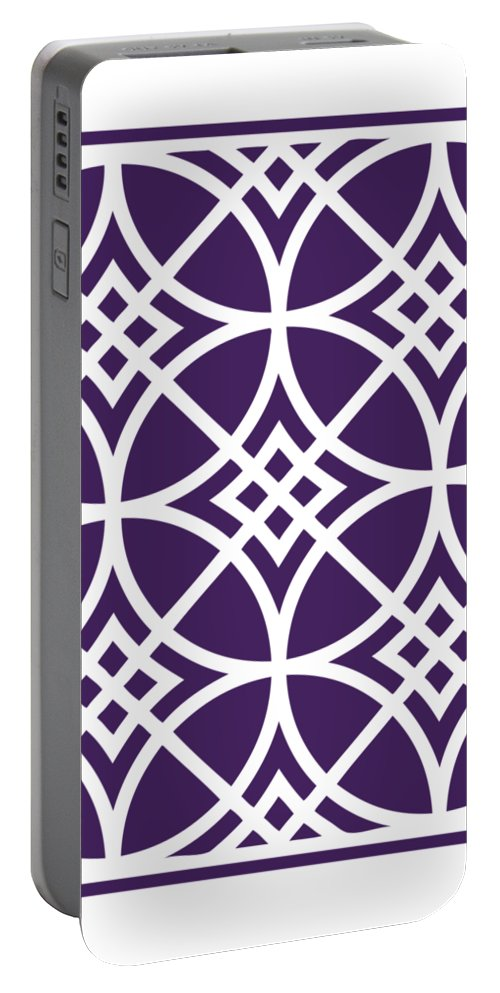 Southwestern Inspired Portable Battery Charger featuring the digital art Southwestern Inspired With Border In Purple by Custom Home Fashions