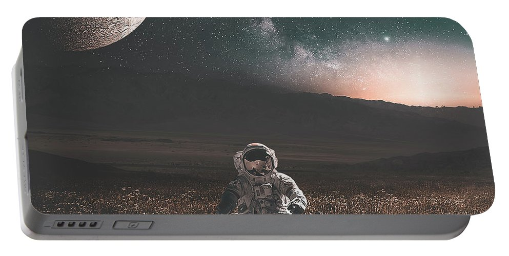 Space Portable Battery Charger featuring the digital art Space Man by Morgan Dmc