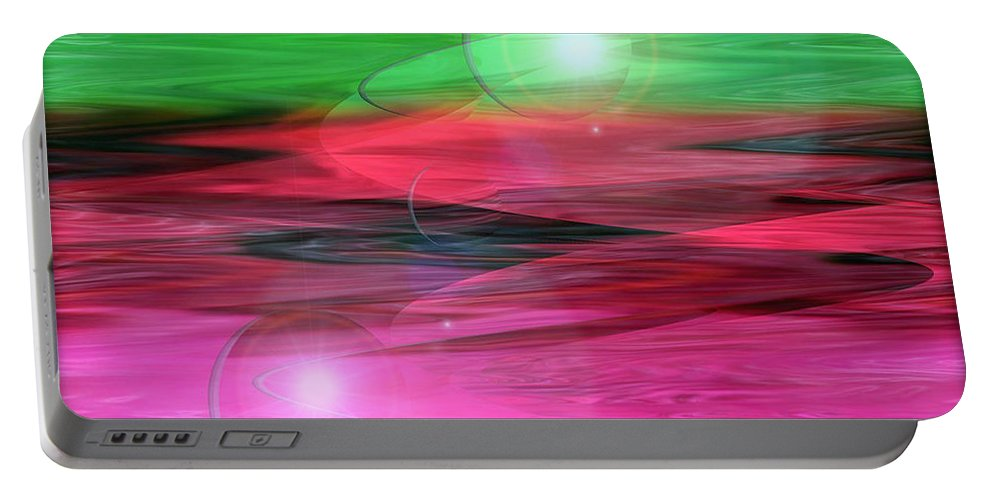 Space Art Portable Battery Charger featuring the digital art Space Oddity by Linda Sannuti