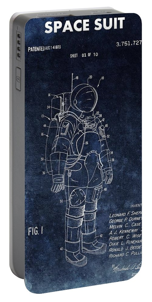 Vintage Space Suit Patent Portable Battery Charger featuring the drawing Space Suit Patent Illustration by Dan Sproul