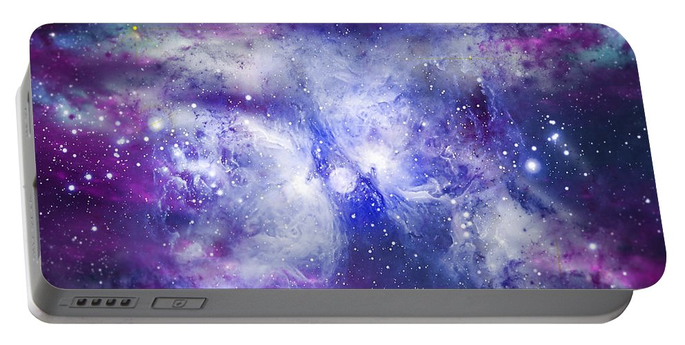 Abstract Portable Battery Charger featuring the digital art Space009 by Svetlana Sewell