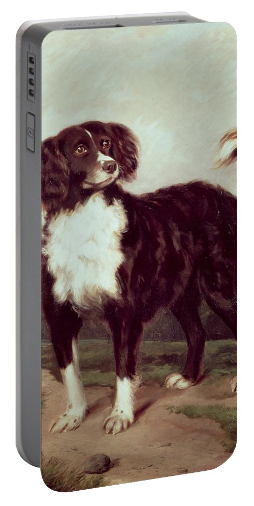Spaniel By J.w. Morris (fl.1866-67) Portable Battery Charger featuring the painting Spaniel by JW Morris