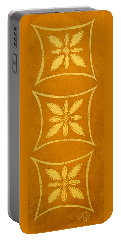 Golds Portable Battery Charger featuring the painting Spanish Gold Rectangle by Renee Noel