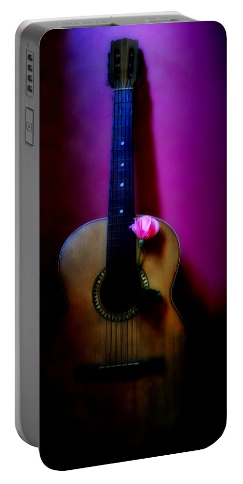 Spanish Portable Battery Charger featuring the photograph Spanish Guitar And Pink Rose by Bill Cannon
