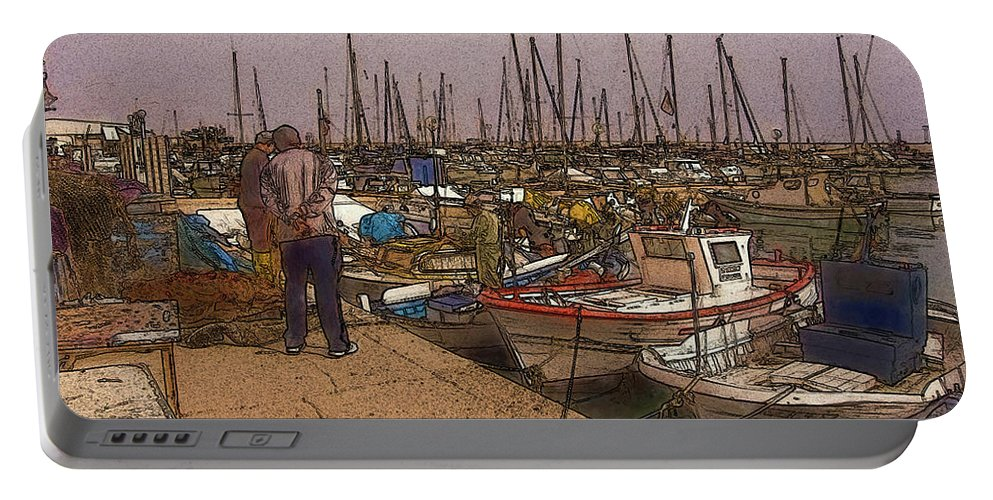 Boats Portable Battery Charger featuring the digital art Spanish Harbour by Mel Beasley