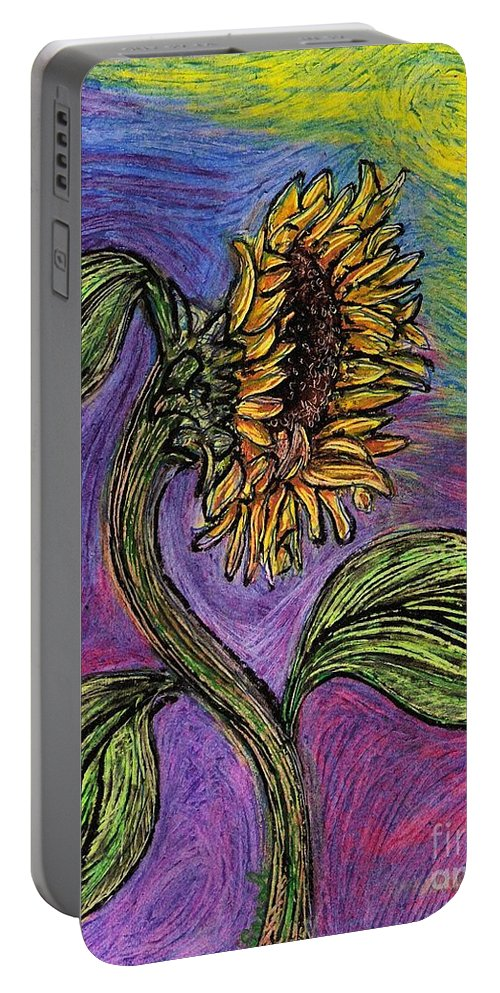 Sunflower Portable Battery Charger featuring the pastel Spanish Sunflower by Sarah Loft