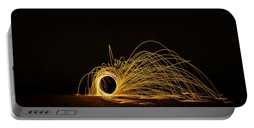 Long Exposure Sparks Shooting Night Burning Steel Wool Ocean Shores Washington State Beach Beautiful Sand Wilderness Outside Pnw Outdoors Pacific Northwest Explore View Views Quest Live Authentic Outbound Portable Battery Charger featuring the photograph Sparks 2 by Pelo Blanco Photo