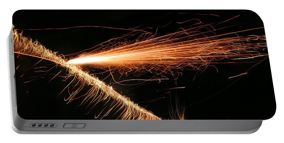 Sparks Portable Battery Charger featuring the photograph Sparks Will Fly by Kristin Elmquist