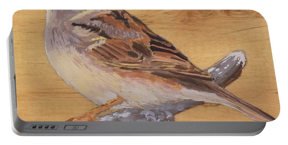 Bird Portable Battery Charger featuring the painting Sparrow 2 by Paul Bashore
