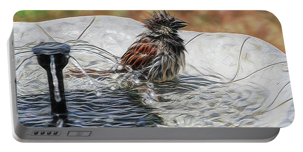 Sparrow Portable Battery Charger featuring the digital art Sparrow Bath Time 9242 by Ericamaxine Price