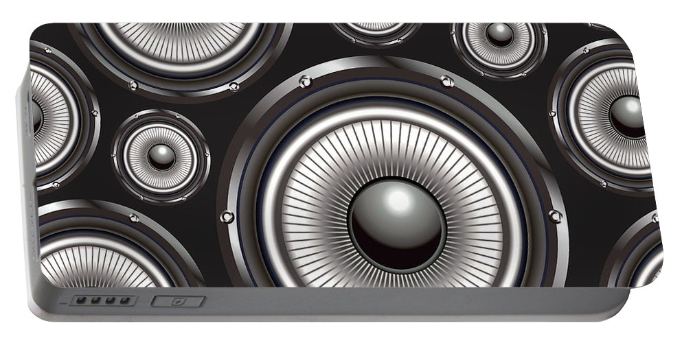 Speakers Portable Battery Charger featuring the digital art Speakers Over Black by Long Shot