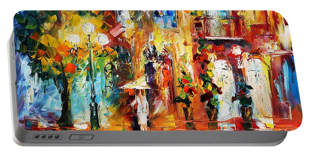 Afremov Portable Battery Charger featuring the painting Special Rain by Leonid Afremov