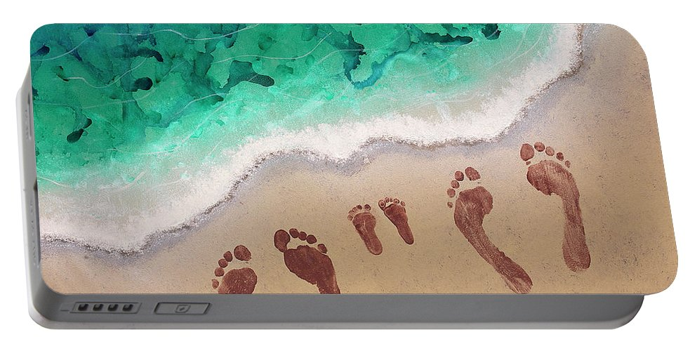 Body Prints Painting Portable Battery Charger featuring the painting Speck Family Beach Feet by April Kasper