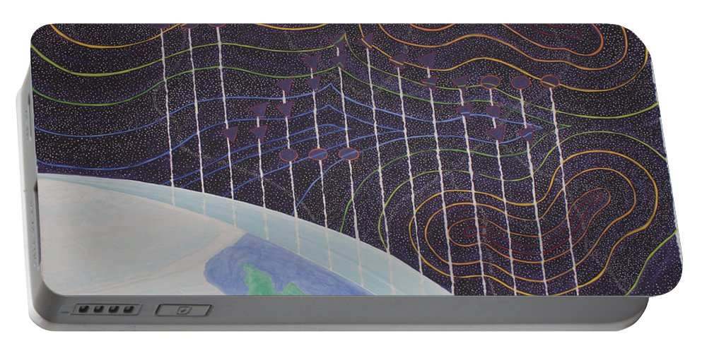 3d Portable Battery Charger featuring the painting Spectrum Earth Spacescape by Jesse Jackson Brown