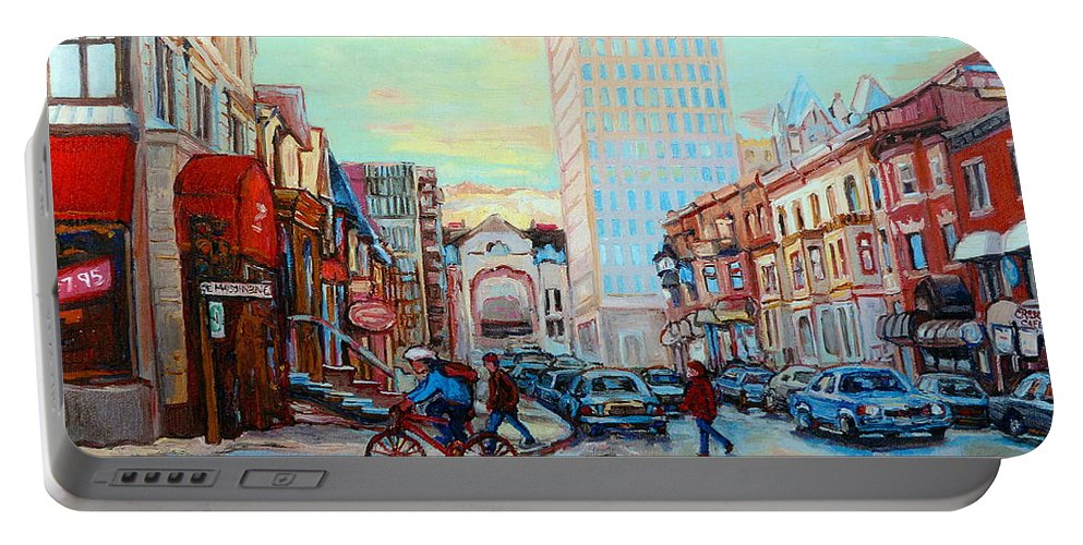 Montreal Portable Battery Charger featuring the painting Speed Cyclist On Crescent by Carole Spandau