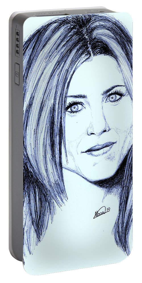 Portrait Portable Battery Charger featuring the drawing Speed Drawing Of Jennifer Aniston by Alban Dizdari
