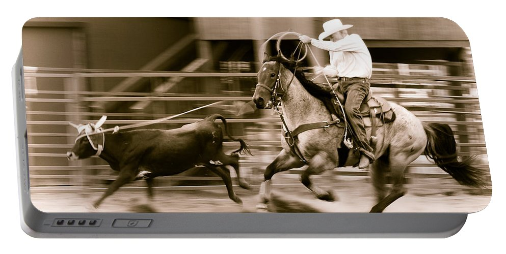 Rodeo Portable Battery Charger featuring the photograph Speed by Scott Sawyer