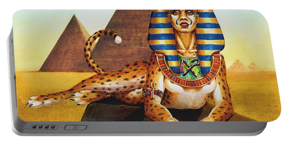 Cat Portable Battery Charger featuring the painting Sphinx On Plinth by Melissa A Benson