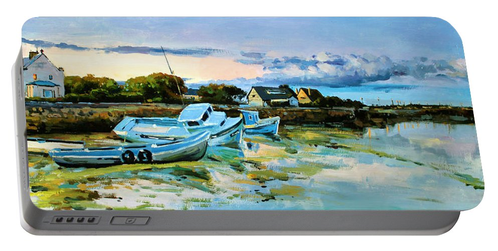 Spiddal Portable Battery Charger featuring the painting Spiddal Harbour by Conor McGuire