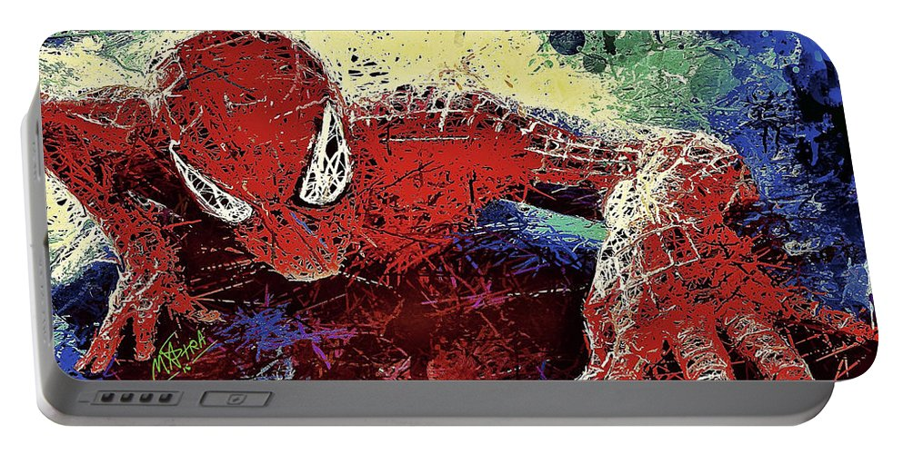 Spider Portable Battery Charger featuring the mixed media Spiderman Climbing by Al Matra