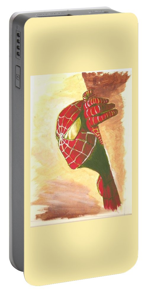 Spiderman Portable Battery Charger featuring the painting Spiderman Hiding by Midia Hadjixenofontos