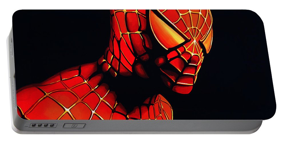 Spiderman Portable Battery Charger featuring the painting Spiderman by Paul Meijering
