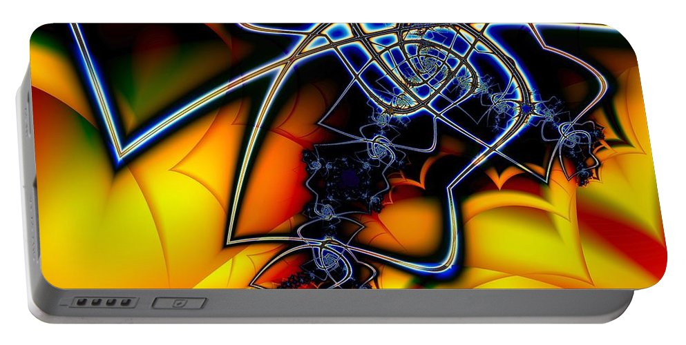 Spider Portable Battery Charger featuring the digital art Spiders Lair by Ron Bissett