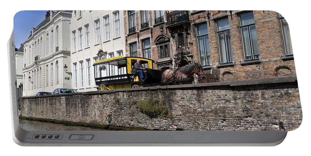 Spieglerei Portable Battery Charger featuring the photograph Spieglerei Canal In Bruges Belgium by Louise Heusinkveld