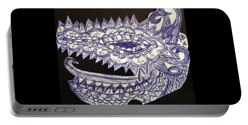 Dragon Portable Battery Charger featuring the drawing Spike Dragon by Lauren Braybon
