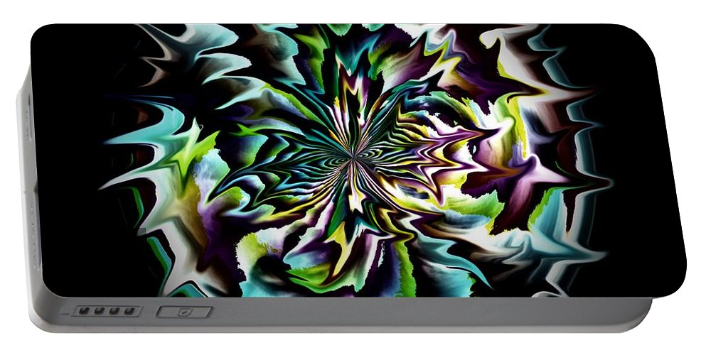 Black Portable Battery Charger featuring the digital art Spiked Ball by Charleen Treasures