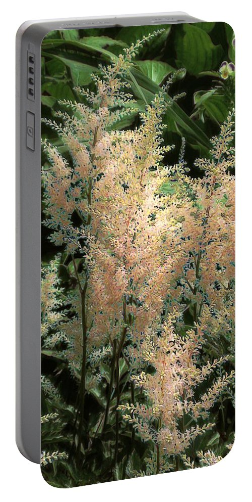 Astilbe Portable Battery Charger featuring the painting Spikes Sunkissed by RC DeWinter