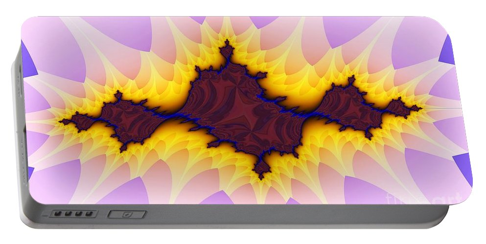 Flower Portable Battery Charger featuring the digital art Spikey Flower by Ron Bissett